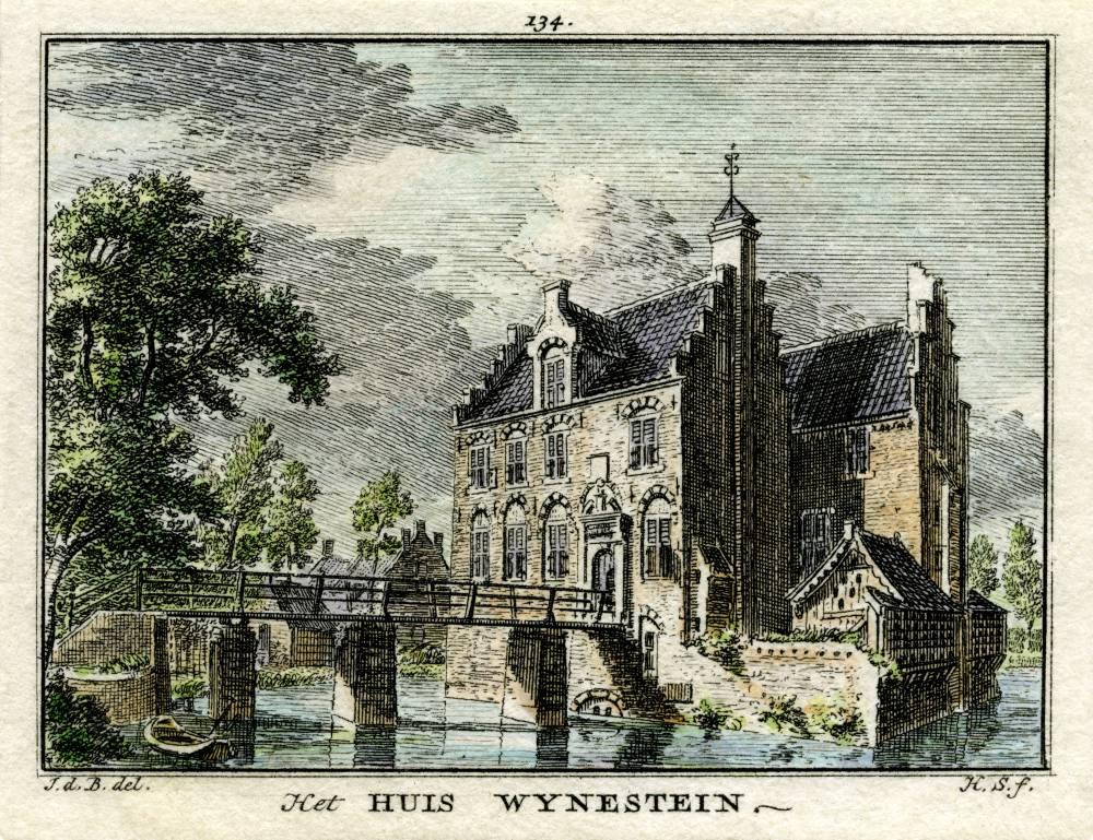 Kasteel Wijnestein in Jutphaas. Tekening Jan de Beijer, gravure Hendrik Spilman (Uit: Het Verheerlykt Nederland, Isaac Tirion, 1745/1774)